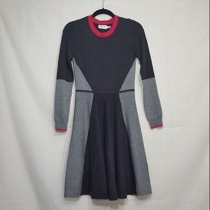 Eliza J colorblock fit flare knit dress gray sz L